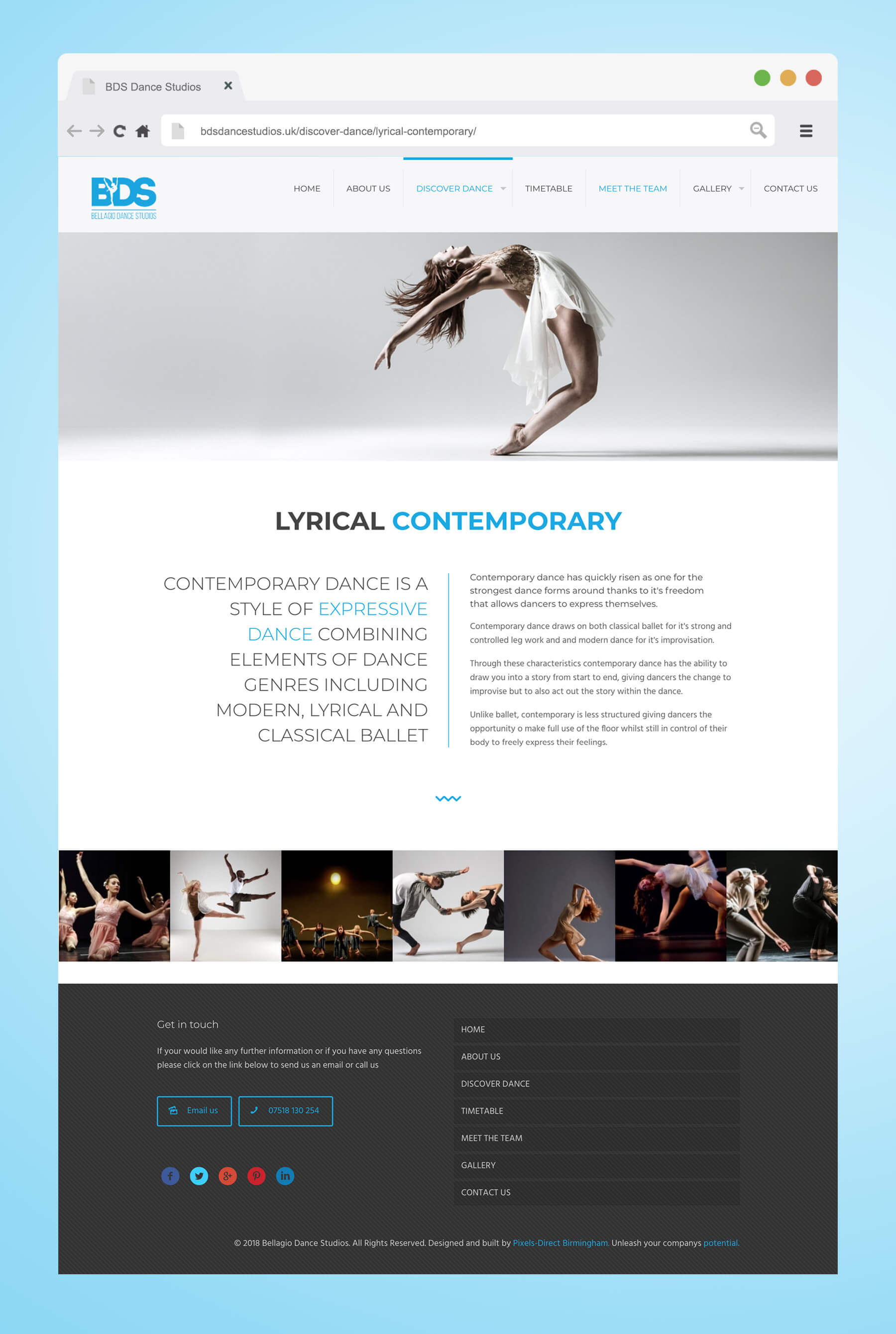 Website design for Bellagio Dance Studios, contemporary dance page