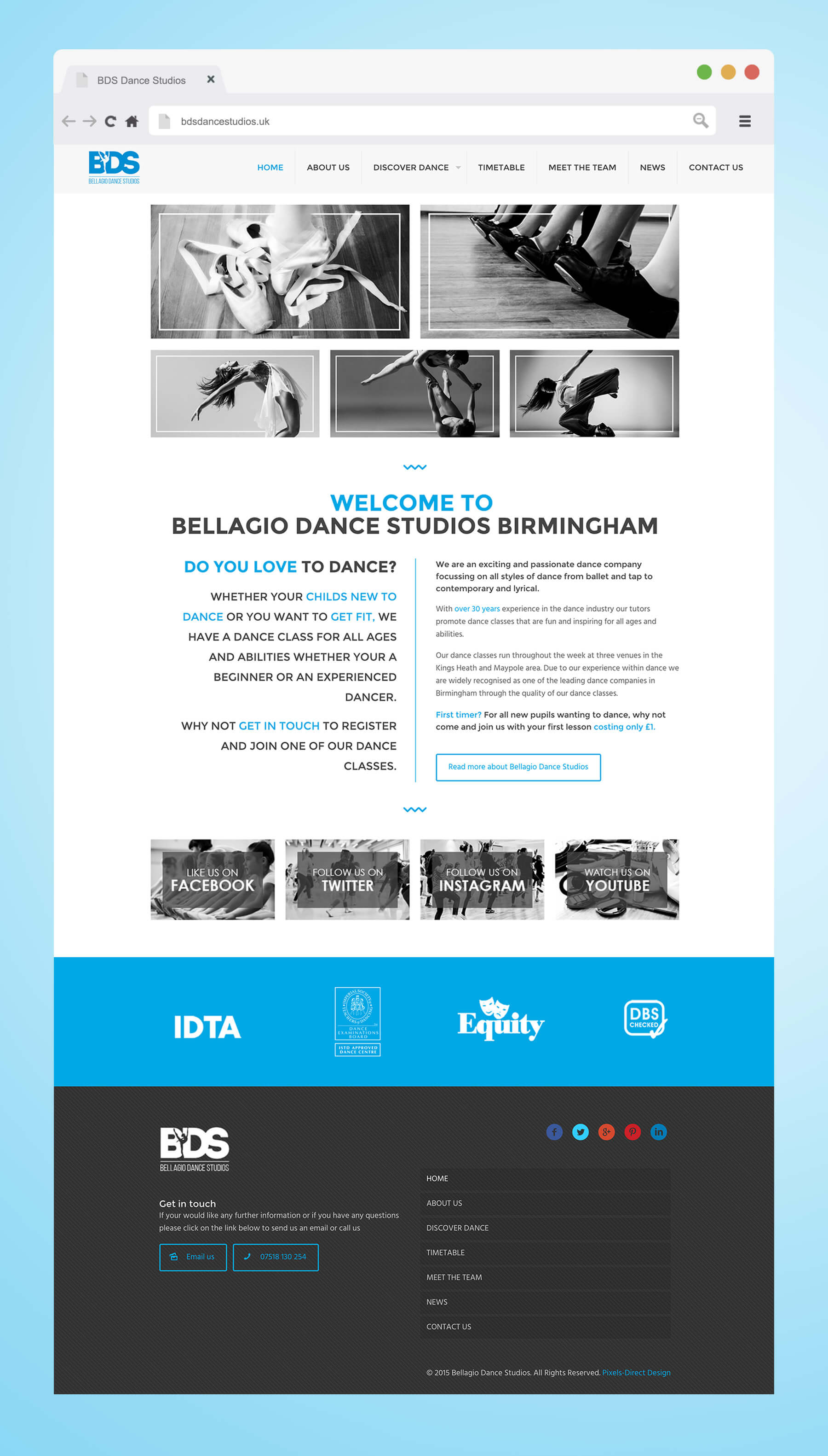 Image of Bellagio Dance Studios homepage