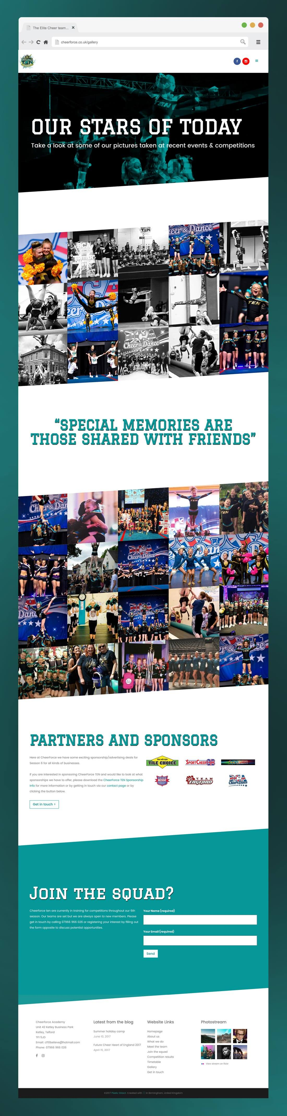 Image of Cheerforce TEN's gallery page on their website