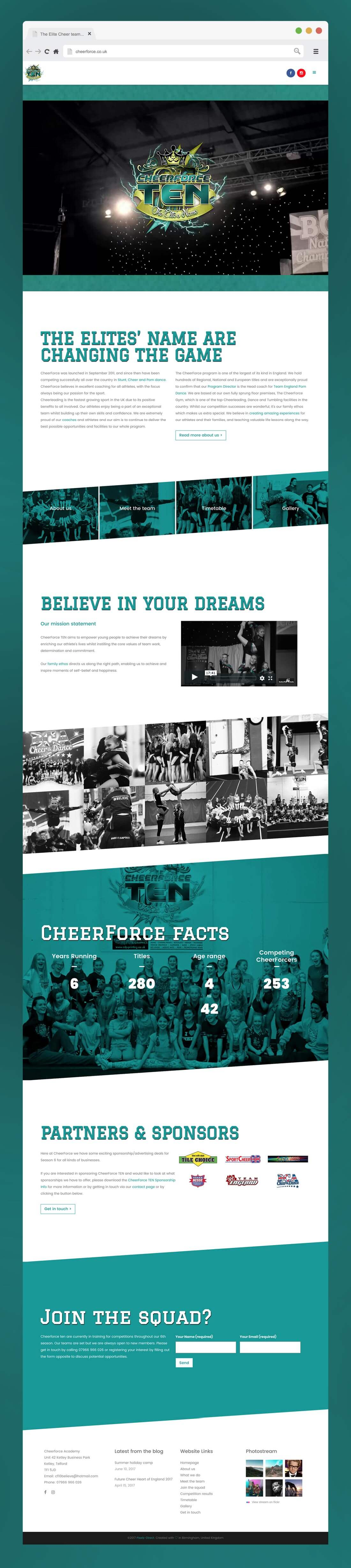 Website design for Cheerforce TEN, homepage visual
