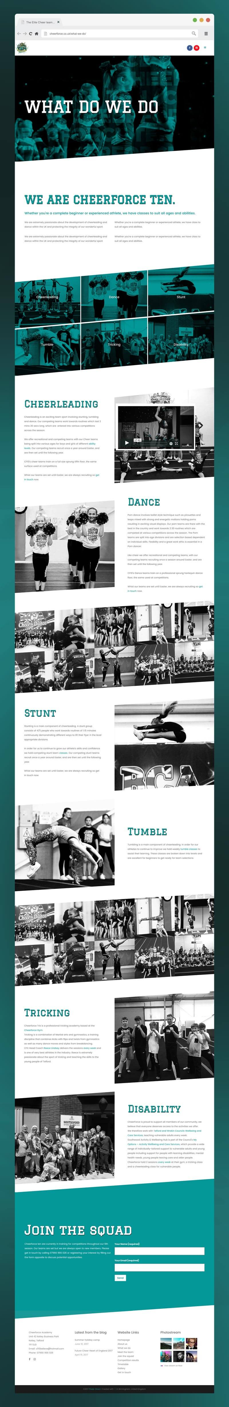 Website design for Cheerforce TEN, What We Do page