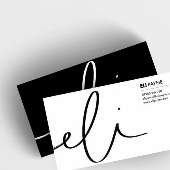 Snapshot of business cards designed for Eli Payne
