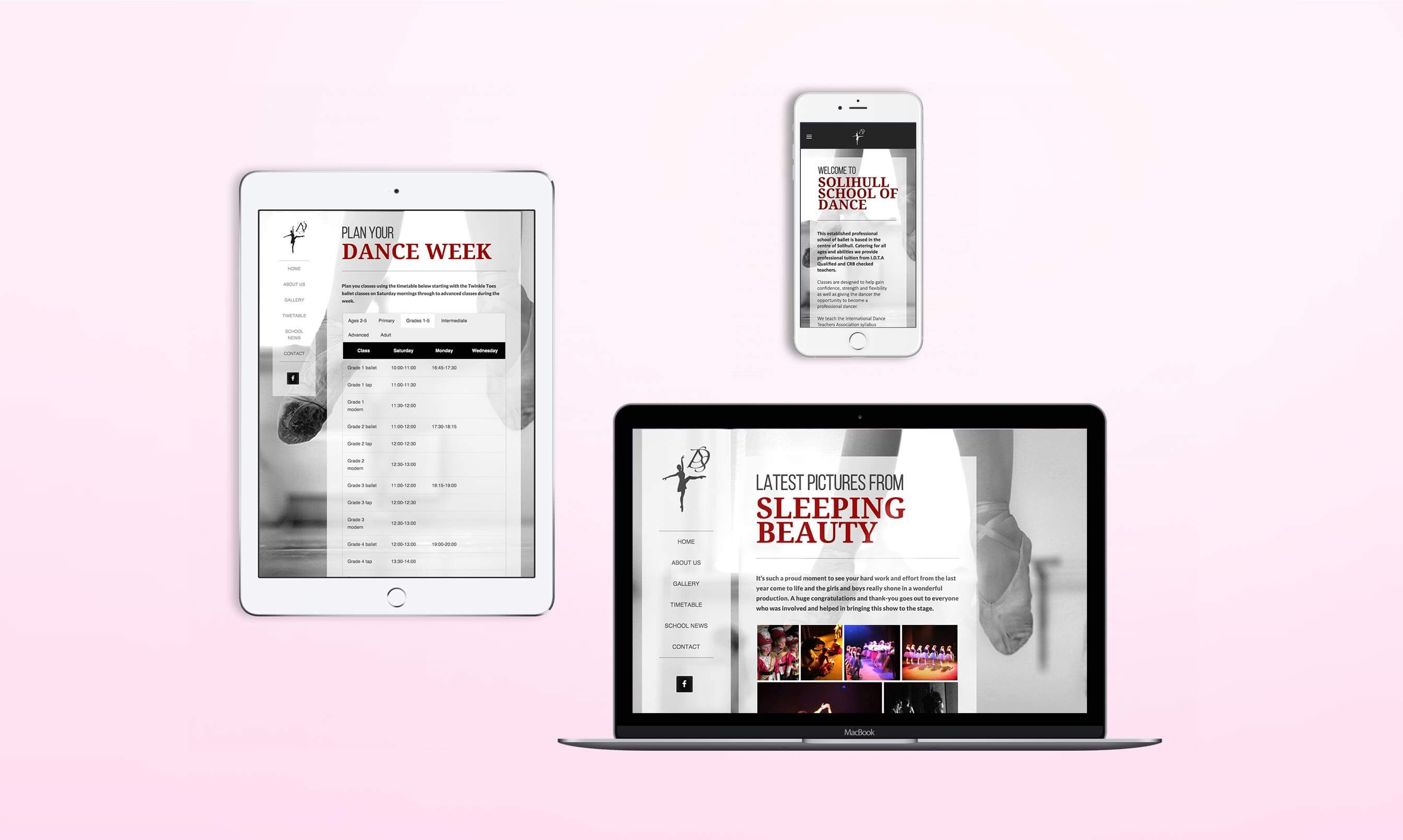 Responsive view of the website designed for Solihull School of Dance